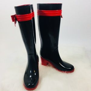 Kate spade Rain Boots Size 7 w/ Bow Black & Red